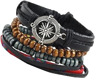 Men's Bracelet Laiemeng_World Braided Leather Stainless Steel Cuff Bangle Bracelet Wristband