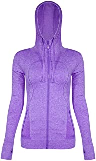 Women Long Sleeve Hoodie Zip Up Running Shirts Jacket Top with Pockets