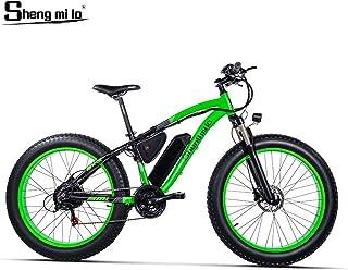 Shengmilo 26 Pulgadas Bicicleta eléctrica neumático Gordo, Bicicleta eléctrica de la Nieve del Motor de 48V 1000W, Shimano 21 Speed Electric Bicycle, batería de Litio Freno de Disco hidráulico