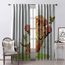 GloriaJohnson Cartoon Heat Insulation Curtain Cub Playing with Butterflies in The Meadow Joyful Lively Baby Tiger Cat for Living Room or Bedroom W42 x L90 Inch Orange Cream Green