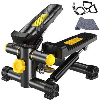 Vinteky Stepper 2 en 1 Mini Stepper avec écran Multifonctions et Cordes Élastiques Poids supporté jusqu'à 100kg (Noir+Jaune)