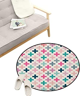 Teal and White Modern Flannel Microfiber ,Colorful Cross Shapes Dotted Design Hipster Feminine Girls Fun Art Graphic, Round Rug Living Room Bedroom Decor 39
