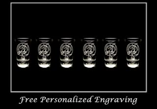 Davidson Scottish Family Clan Crest Shot Glass, Set of 6 - Free Personalized Engraving, Celtic Decor, Scottish Glass