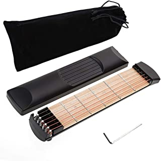Portable Pocket Guitar Wooden - 6 Fret Portable Guitar Practice Tool Gadget For Beginner Chord Trainer Fingering Pratice Tool with Carton and Convenient Sorage Bag