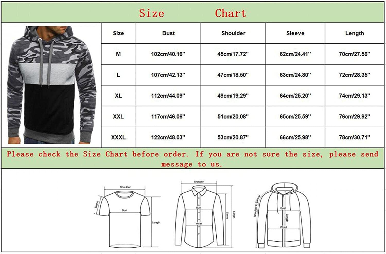 Hoodies for Men Pullover Men's Camouflage Patchwork Athletic Sweatshirt Long Sleeve Slim Drawstring Hooded Hoodies Outwear