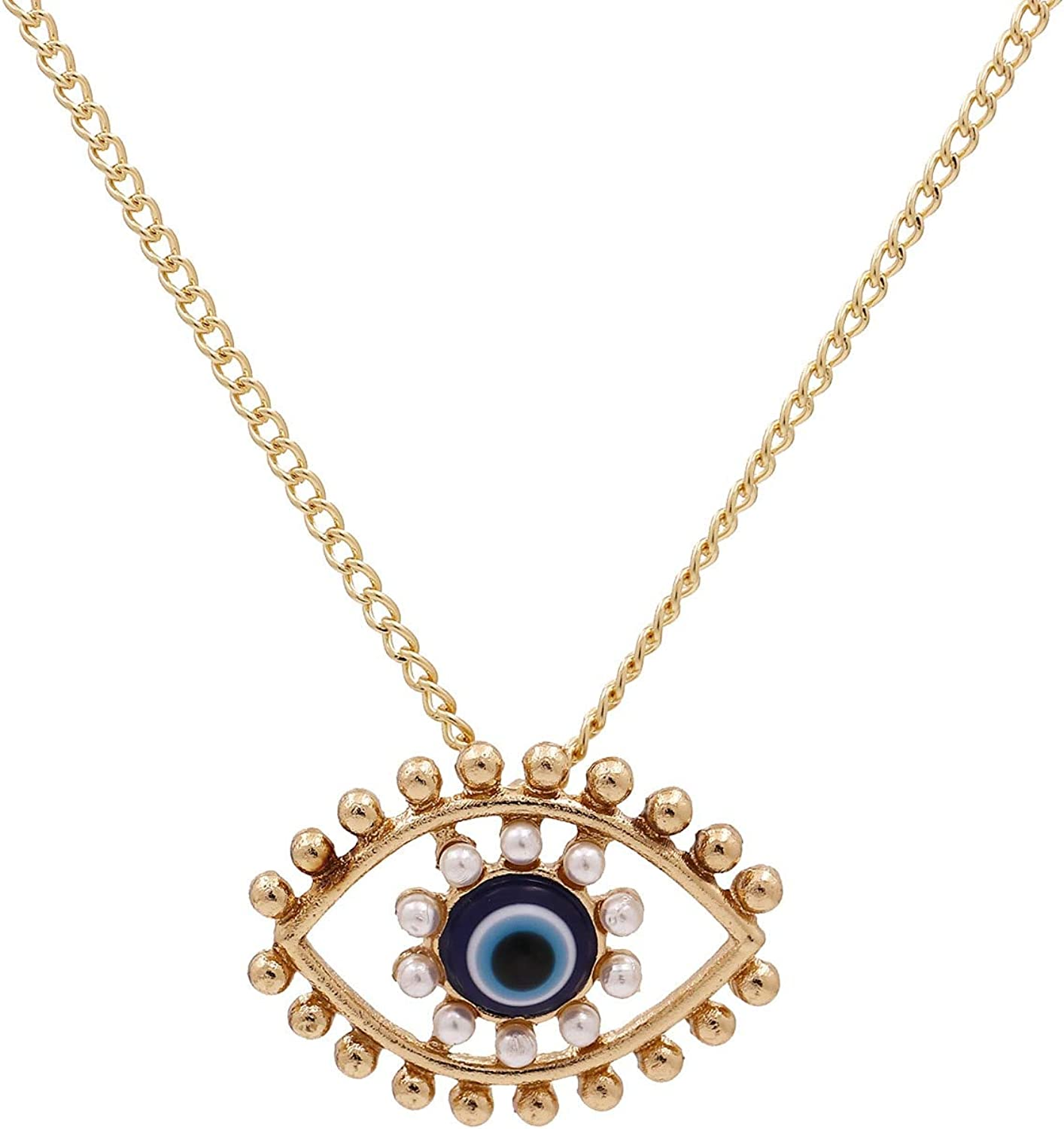 SWAOOS Turkey Blue Eyes Pearl Alloy Pendent Necklace for Men Women Medusa Eye Gold Chain Evil Eyes Collar Necklace