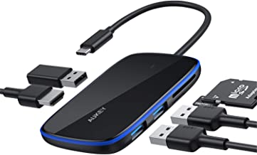 AUKEY USB C Hub 6-in-1 Adapter with 3 USB 3.0 Ports, SD & MicroSD Card Slots and HDMI Port USB C Adapter Compatible with MacBook Pro, Dell XPS 15, Google Chromebook Pixel, Samsung S9/S8 and More