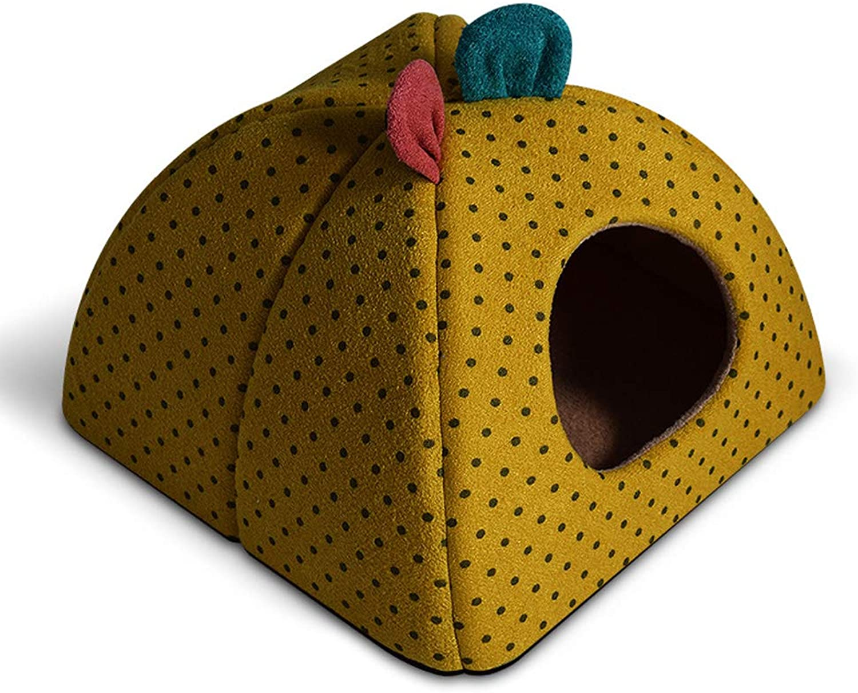 Pet Bed, Pet cat Room, Winter Warm Closed Type Plus Velvet Thickening pet nest,Yellow,43  43  34cm