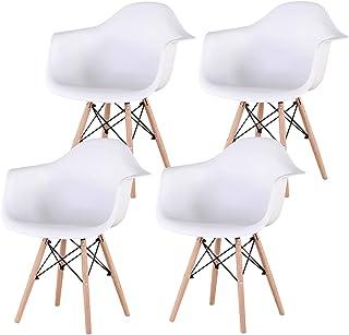 N/C Conjunto de 4 sillas sillas de Comedor Sillón Silla de diseño Vintage con Patas de Haya (Blanco)