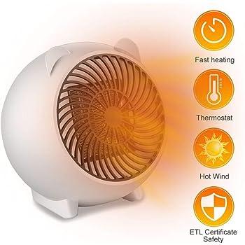 PINPOXE Calefactor Eléctrico, Mini Calefactor Ventilador, Cerámico ...