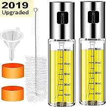 CHUANGSIxx 2Pcs Olive Oil sprayer Mister for Cooking 3.4-Ounce Capacity Food-grade Glass Bottle Vinegar Mist Spray Dispenser for BBQ Salad Baking Roasting Grilling Frying, Bonus a Cleaning Brush