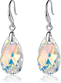 EVEVIC Swarovski Crystal Teardrop Dangle Hook Earrings for Women Girls 14K Gold Plated Hypoallergenic Jewelry
