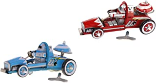 Bonarty 2 Pieces Vintage Race Car Model Wind-up Clockwork Tin Toy Collectible Gift
