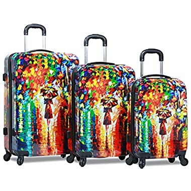 Dejuno Women's 3-Piece Lightweight Hardside Spinner Upright Luggage Set, Parisian Nights