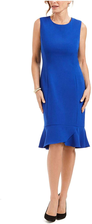 Kasper Women's Sleeveless Stretch Crepe Dress with Bottom Scallop Detail