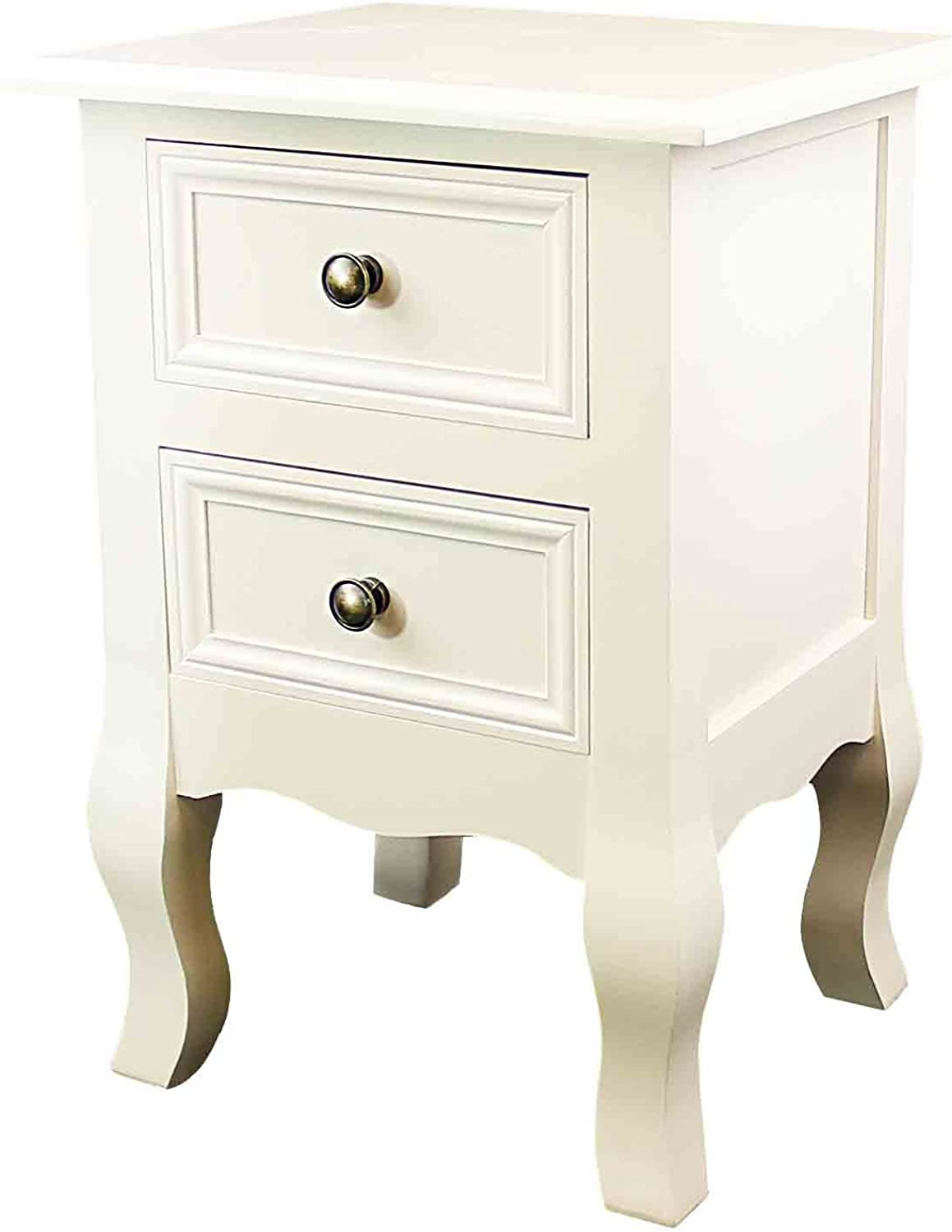 DL furniture Furniture002 Fully Assembled MDF Wood British Style Tea Night Stand 2 Drawer Storage Shelf Organizer   Finish  Ivory