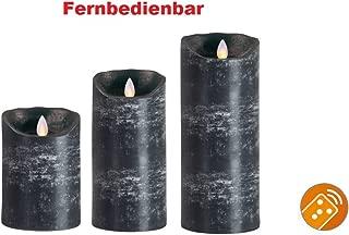 Sompex Juego de 3 Vela/Velas Cera Real LED operable V14Antracita (Negro Gris) 8x 12,5cm–8x 18cm–8x 23cm (Juego de 3)