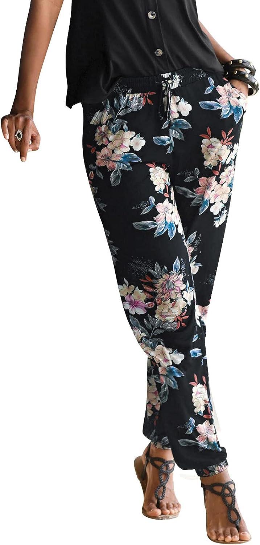 MASZONE Women's Pants Casual Summer Boho Beach Trousers Vintage Floral Print Comfy Capri Pants Lightweight Sweatpants