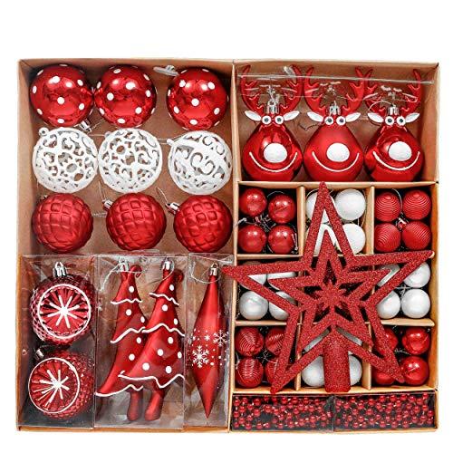 Victor's Workshop Addobbi Natalizi 92 Pezzi di Palline di Natale, 3-15 cm Tradizionali Ornamenti di Palle di Natale Infrangibili Rossi e Bianchi per la Decorazione Dell'Albero di Natale