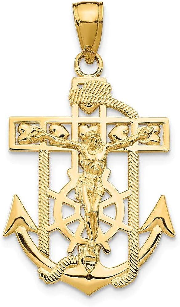 14k Yellow Gold Textured Mail order Mini Ship Nautical High quality Mariner Anchor Wheel