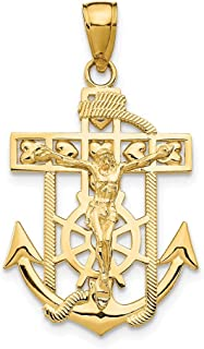 14k Yellow Gold Textured Mini Nautical Anchor Ship Wheel Mariners Crucifix Cross Religious Pendant Charm Necklace Mariner Fine Jewelry Gifts For Women For Her