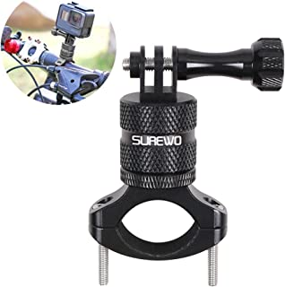 SUREWO Bike Handlebar Mount,360 Degrees Rotation Aluminum Bicycle Seatpost Mount Compatible with GoPro Hero 8/7/(2018) 6 5 Black,4 Session,4 Silver,3+,DJI Osmo Action,AKASO,YI,Campark and More