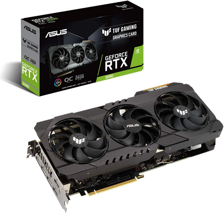 ASUS TUF Gaming NVIDIA GeForce RTX 3090 OC Edition 24GB GDDR6X - Tarjeta gráfica (PCIe 4.0, HDMI 2.1, DisplayPort 1.4a, Doble rodamiento de Bolas, Certificación Militar, GPU Tweak II)