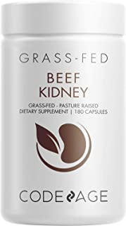 Codeage Grass Fed Beef Kidney Supplement - Freeze Dried, Non-Defatted, Desiccated Beef Kidney Glandulars Nu...