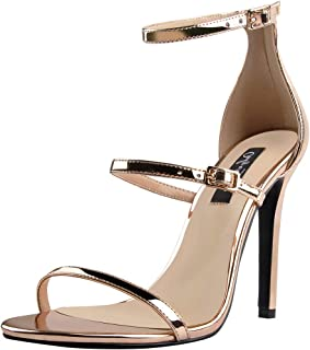Women's Ankle Strap Stiletto Open Toe Sandals Sexy Triple Strappy High Heel Party Wending Dress Evening Shoes