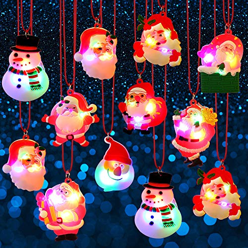 Blulu Christmas Holiday Flashing Light Necklaces Soft Chain...