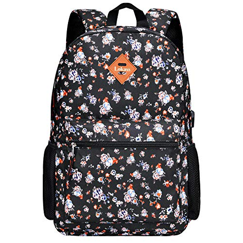 CoolBELL Backpack Casual Daypack Student Book Bag Water-Resistant Travel Backpack Multipurpose 15.6 Inches Laptop Backpack for Men/Women (Small Flowers)