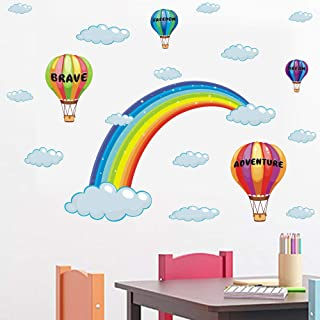 Rainbow,Hot Air Balloon and Clouds Kids Wall Stickers Peel and Stick Removable Wall Decals for Kids Nursery Bedroom Living...