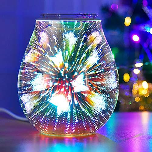 HaavPoois Lámpara de aroma de cristal – Quemador de aceite de derretimiento de cera eléctrica con patrones 3D, calentador de cera para decoración de dormitorio, sala de estar (mariposa)
