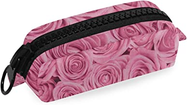 Pencil Case Valentine's Day Pink Rose Flower Big Capacity Pouch Pen Bag Zip for Girls Kids School College Office