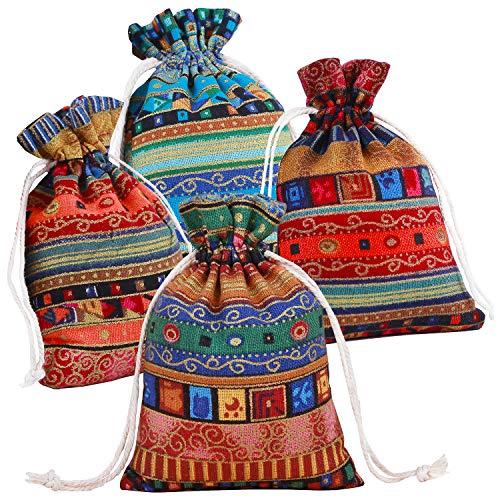Pinowu Estilo étnico Bolsa de Regalo con cordón (12 Piezas), Algodón Reutilizable Bolsas Joyería Bolsas de Monedas para Candy Fiesta de Bodas Favores de San Valentín(13x18cm)