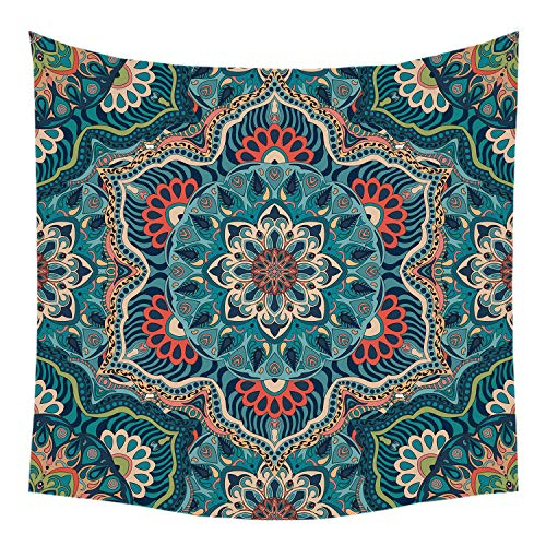 Jhdstore Queen Size Dark Green Hippie Tapestry Wall Art Hanging Mandala Tapestries Polyester Bedspread Picnic Blanket Bohemian Wall Art Tapestry 60x80inches (60x80inch, Dark Green)