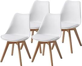 Albatros Krzesła do jadalni AARHUS 4-częściowy zestaw, białe z nogami z litego drewna, buk, skandynawski styl retro