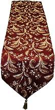 """Violet Linen Decorative Luxury Damask Vintage Design Table Runner, 13"""" x 90"""", Burgundy"""