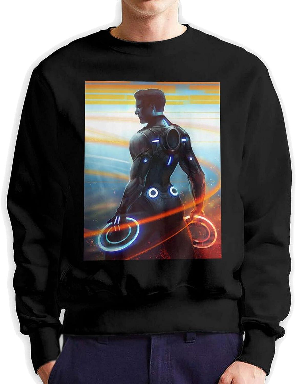 Tron Mens Long Sleeve Printed Sports Shirt Cotton Black