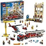 LEGO CityFire MissioneAntincendioinCittà con Autopompa, Gru, Elicottero, Moto e 7 Minifigure, Giocattoli Ispirati ai Pompieri per Bambini, 60216