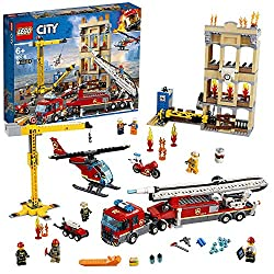 Build a fire ladder toy truck, extending swivel ladder and fire hose with pump system and 'water jet' function, plus a swiveling crane with working winch, 3-level building and a toy helicopter Includes 7 LEGO City minifigures : 2 construction workers...