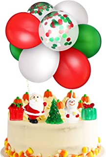 19 Pieces Christmas Cake Toppers Santa Christmas Ornaments Christmas Tree Miniature and Mini Red White Confetti Latex Ball...