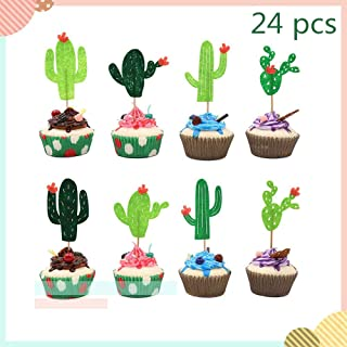 Efivs Arts 24pcs Cactus Cake Toppers Cupcake Topper for Cactus-Themed Party Decorations Kids Birthday Party Baby Shower Tropical Fiesta Luau Hawaii Party Supplies