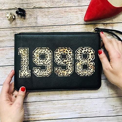 Geschenk für Frauen Clutch schwarz personalisiert mit Jahreszahl Leoprint Geburtstag Jubiläum