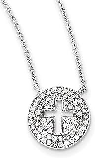"Lex & Lu Sterling Silver Polished CZ Cross Necklace 18"""