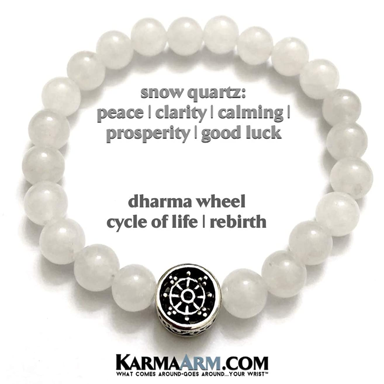 BUDDHIST Bracelets   OVERCOMING OBSTACLES: Snow Quartz   Dharma Wheel Beaded Bracelets   Yoga Reiki Healing Chakra BoHo Spiritual Meditation Jewelry