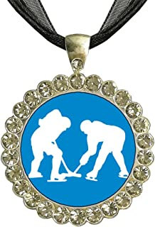 GiftJewelryShop Silver Plate Olympics Women's Hockey Team in Competition White Crystal Pendant Necklace