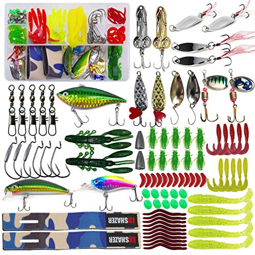Fishing Lures Kit Bait Tackle Box Set Including Soft Plastic Worms,