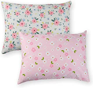 Onacosht Pink Floral Toddler Pillowcase 2 Pack for Girls, 100% Cotton Ultra Soft Baby Pillow Case Fits Kid Pillow Sized 13x 18 or 14x19, Zipper Style Travel Pillow Cover