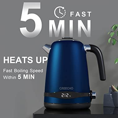 GREECHO Electric Kettle Temperature Control, 1.7L Hot Water Kettle with LED Display & 7 Heat Settings (Boil & Keep Wa